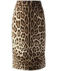 Falda lápiz de leopardo marrón claro de Dolce & Gabbana