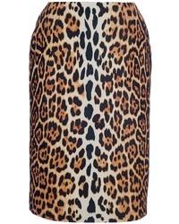 Falda lápiz de leopardo marrón de Christian Dior
