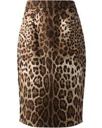 Falda lápiz de leopardo marrón de Dolce & Gabbana