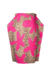 Falda lápiz de leopardo rosa de Comme Des Garçons Vintage