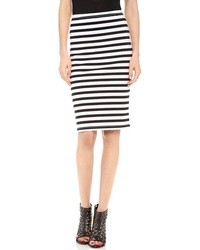 Falda lápiz de rayas horizontales en blanco y negro de BB Dakota