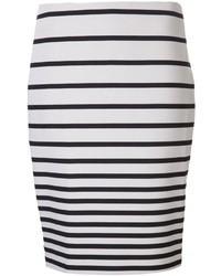 Falda lápiz de rayas horizontales en blanco y negro de Halston