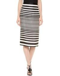 Falda lápiz de rayas horizontales en blanco y negro de J. Mendel