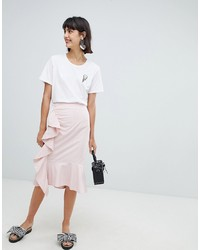 Falda lápiz de rayas verticales rosada de In Wear