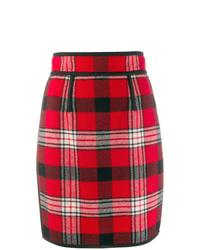 Falda lápiz de tartán roja de Dsquared2