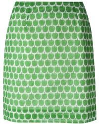 Falda Lápiz Estampada Verde de Peter Jensen