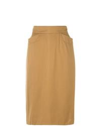 Falda lápiz marrón claro de Kenzo Vintage
