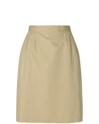 Falda lápiz marrón claro de Yves Saint Laurent Vintage