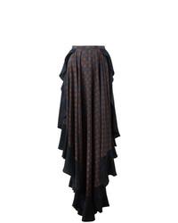 Falda larga azul marino de Lanvin