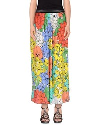 Falda larga con print de flores amarilla