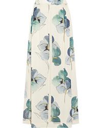 Falda larga con print de flores blanca