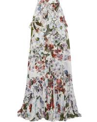 Comprar Una Falda Larga Con Print De Flores Blanca Elegir Faldas
