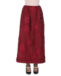 Falda larga con print de flores burdeos