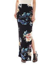 Falda larga con print de flores negra