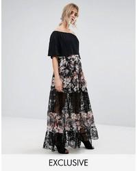 Falda larga con print de flores negra de Boohoo