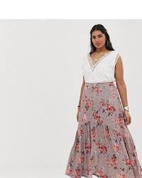 Falda larga con print de flores violeta claro de En Crème Plus