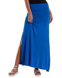 Falda larga con recorte azul