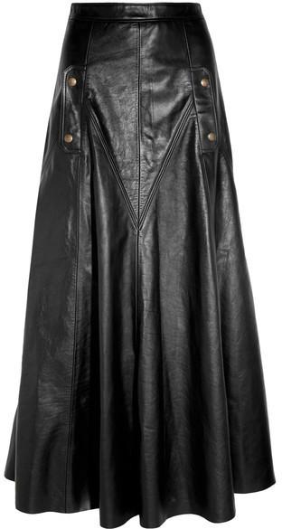 Falda Larga de Cuero Negra de Chloé  dónde comprar y cómo combinar a028b0352605