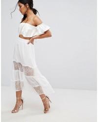 Falda larga de encaje blanca de Boohoo