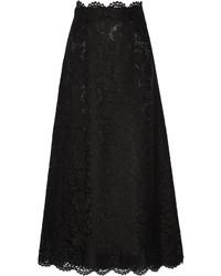 Falda larga de encaje negra de Valentino