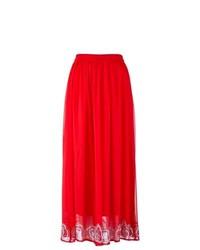 Falda larga de encaje roja