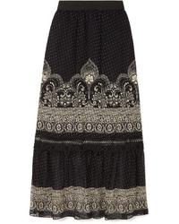Falda larga de gasa con print de flores negra