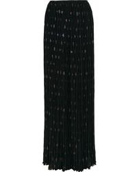 Falda larga de gasa plisada negra de Lanvin