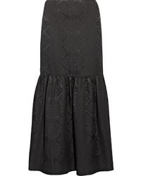 Falda larga de lana con estampado geométrico negra de The Row
