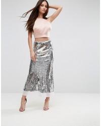 Falda larga de lentejuelas plateada de Asos
