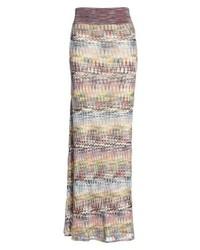 Falda larga de punto en multicolor