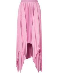Falda larga de satén rosada