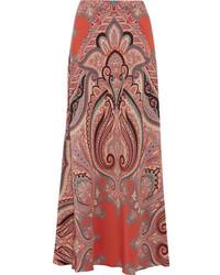 Falda larga de seda de paisley roja de Etro