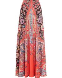 Falda larga de seda estampada roja de Etro