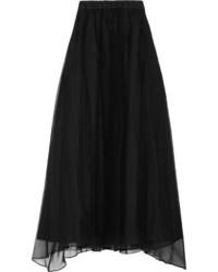 Falda larga de seda plisada negra de Brunello Cucinelli
