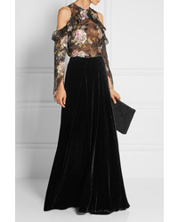 5878b0bf0838 Falda larga de terciopelo negra de Etro, €1,189 | NET-A-PORTER.COM ...