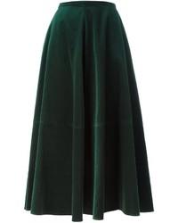 Falda Larga de Terciopelo Verde Oscuro de MM6 MAISON MARGIELA