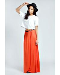 Falda larga naranja
