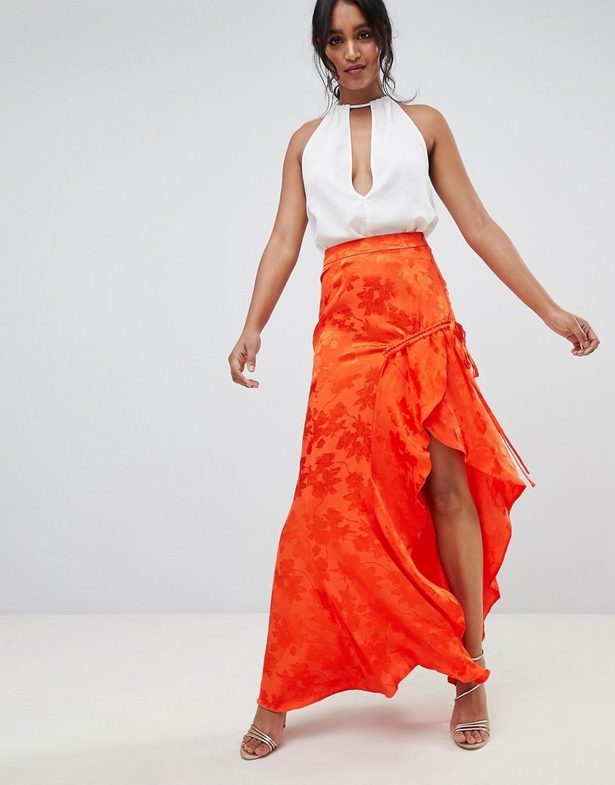 Falda larga naranja de ASOS DESIGN