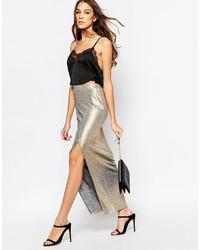 Falda larga plateada
