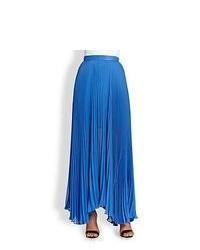 Falda larga plisada azul