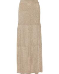 Falda larga plisada dorada