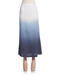 Falda Larga Plisada en Blanco y Azul