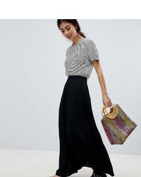 Falda larga plisada negra de Asos