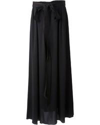 Falda larga plisada negra de Lanvin