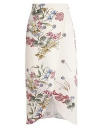 Falda línea a con print de flores blanca de River Island