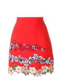 Falda línea a con print de flores roja de MSGM