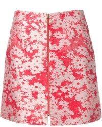 Falda línea a con print de flores roja de Stella McCartney