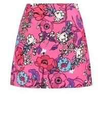 Falda línea a con print de flores rosa de River Island