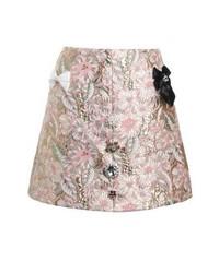 Falda línea a con print de flores rosada de River Island