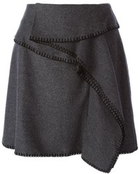 Falda línea a de lana en gris oscuro de Kenzo
